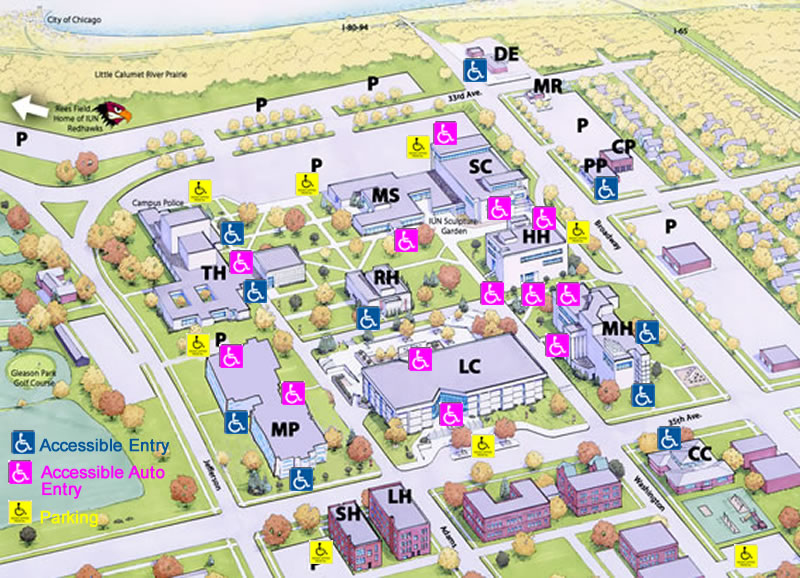 ADA Accessibility Map - Indiana University Northwest
